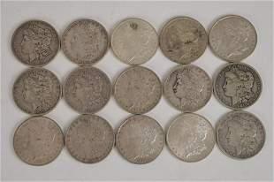 15 Morgan Silver Dollars. Circulated various dates 1880