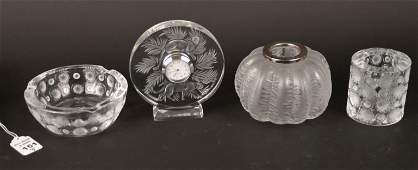 ASSORTMENT OF FOUR LALIQUE FRANCE CRYSTAL ITEMS -