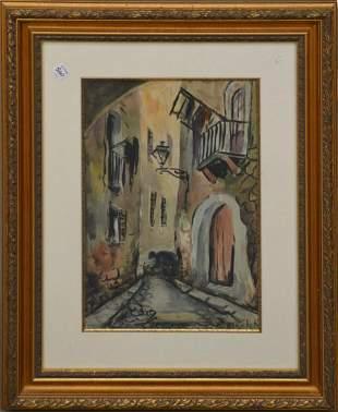 Elisee Maclet (French, 1881-1962) Watercolor, Street