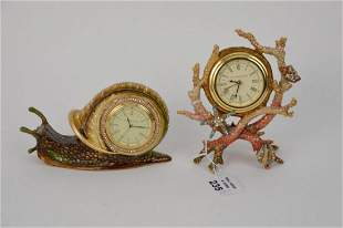 "2 Jay Strongwater Jeweled Clocks, Coral & Shell (6""h x"