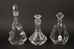 "3 Baccarat Decanters, (2 marked) Camus-Cognac (13""h),"