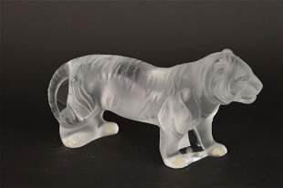 LALIQUE FRANCE LARGE STANDING BENGAL TIGER CRYSTAL
