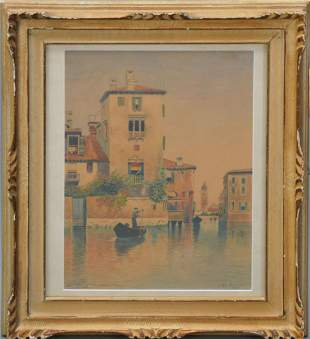 French School, Scene of Venice, Signed Em. Rochedieu