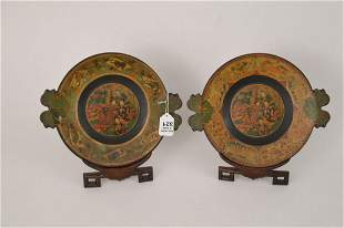Pair Japanese Hand painted Lacquered Plates with Leaf