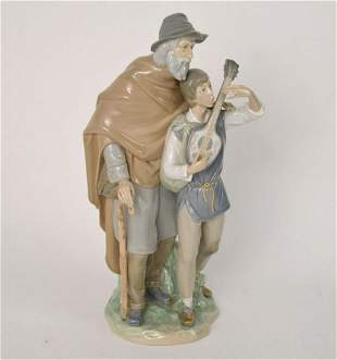 Lladro Porcelain Figure, Young Musician with Elder, 14