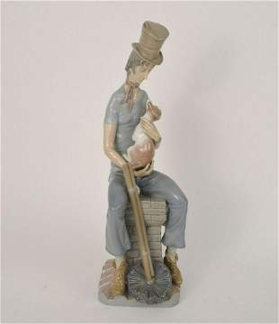 "Lladro Porcelain Figure, Chimney Sweep, 17 1/2""h"