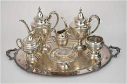 7 pcs Rosepoint Sterling Silver Tea / Coffee Set with