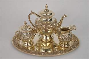Sterling Silver Tea Set with Tray.  Rose motif. Tray