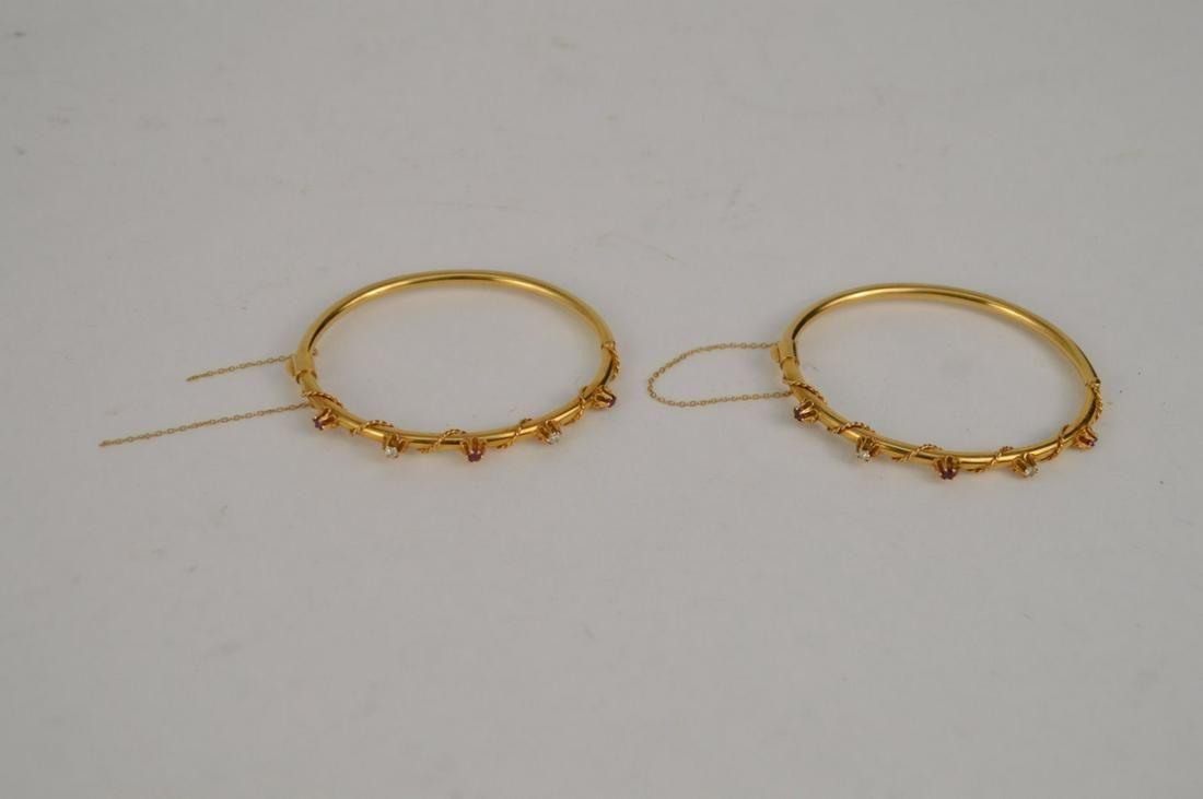 2 - 14 kt Yellow Gold Diamond Ruby Bangle Bracelet,