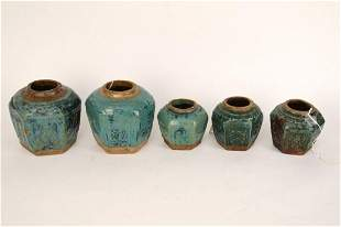 FIVE CHINESE QING TURQUOISE GLAZED POTTERY SHIWAN