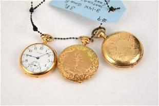 3 Vintage 14kt Gold Pocket Watches, 2 Hunter Case, 1