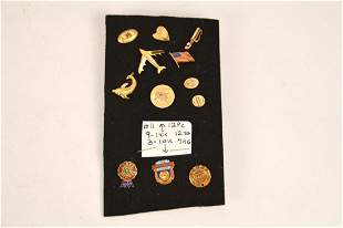 Lot of 12 Assorted Tie Tacks, Lapel Pins, (9 are 14kt