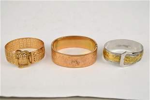 3 Vintage Gold Filled Victorian Bracelets, Wide Bangle