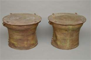 Pair Chinese Drum Form Side Tables, Composition or