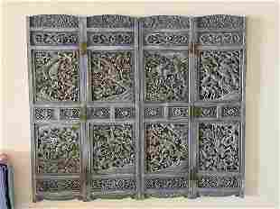 Antique 4 Panel Screen, Carved Blue Silver Gray Color,