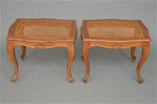 "Pair Caned Country French Stools, 15""h x 20""w x 16"