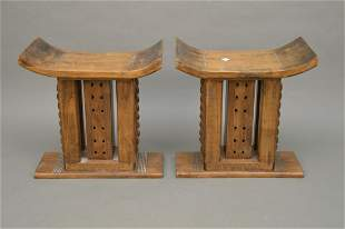 """2 African style wood stools, 21""""h x 20 1/2""""w x 10 1/2""""d"""
