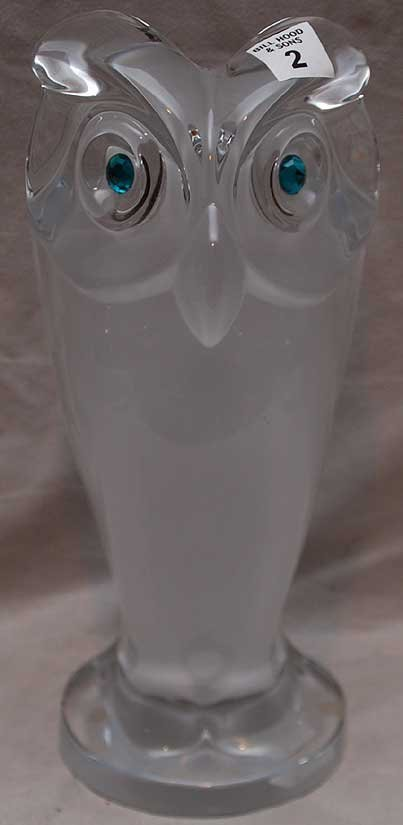 2: Large glass owl, single sided, signed Crystal Sevres