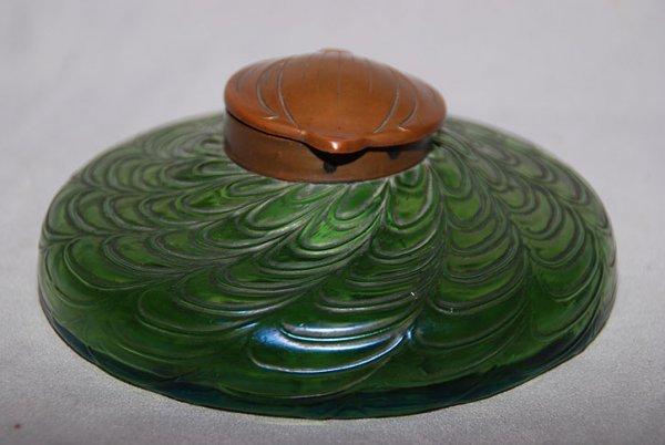5: Loetz? Green art glass inkwell, lid impressed D.G.M.