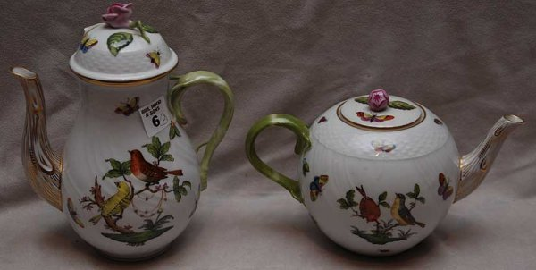 """6: Herend teapot and coffee pot, """"Rothschild"""""""