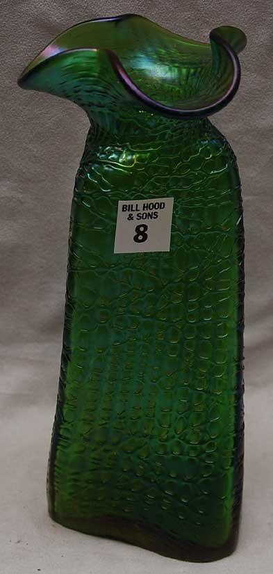 8: Loetz green glass vase trifed shape with folded rim,