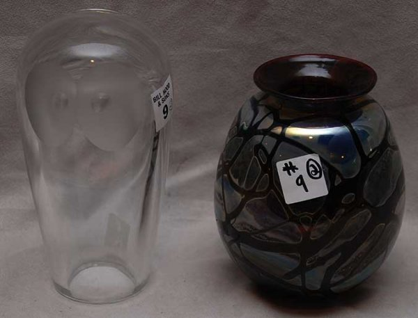 """9: Ruby iridescent contemporary glass vase """"Crystal Sev"""