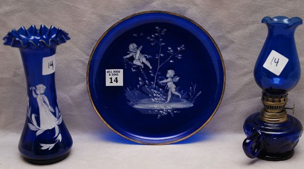 14: 3pcs cobalt blue glass, Mary Gregory vase with ruff