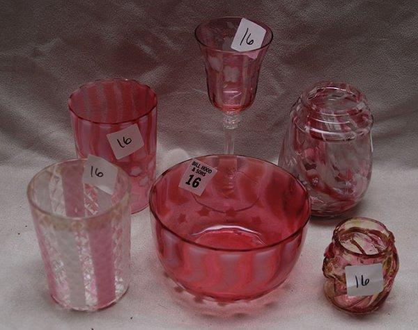 16: 6pcs American antique cranberry & spatterware glass