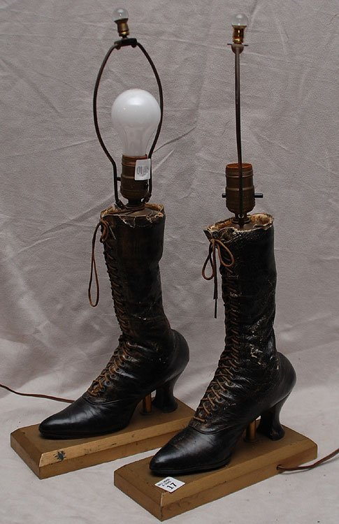 17: Pair Victorian laced boots converted to lamps with