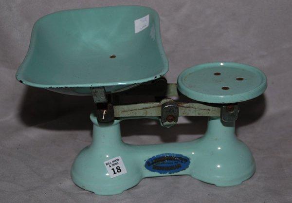 18: Wonderful English enamelware, scale label reads, F.