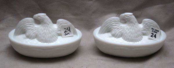 24: Pair of antique or historical American milk glass c