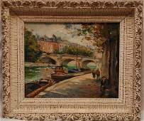 268: Paris School 20th century oil Painting Seine river