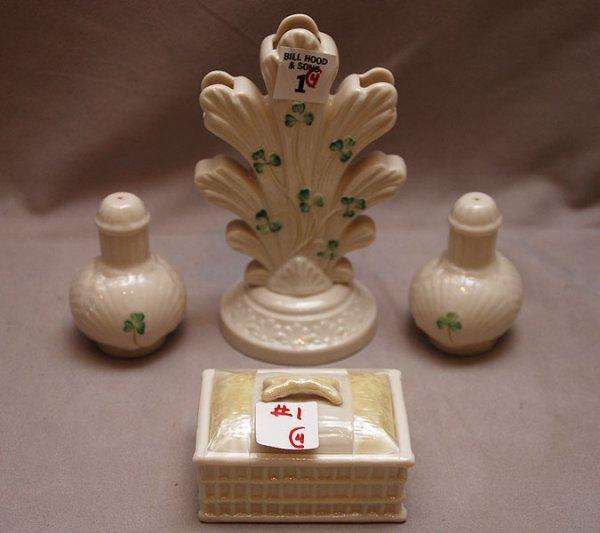"1: 4 pieces of Beleek; 6 1/2""h vase brown mark, 3 12/""L"