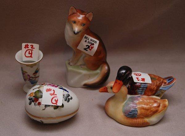 "2: 4pcs Herend; 5""h wolf, 3""L covered egg, 2 1/2""h mini"