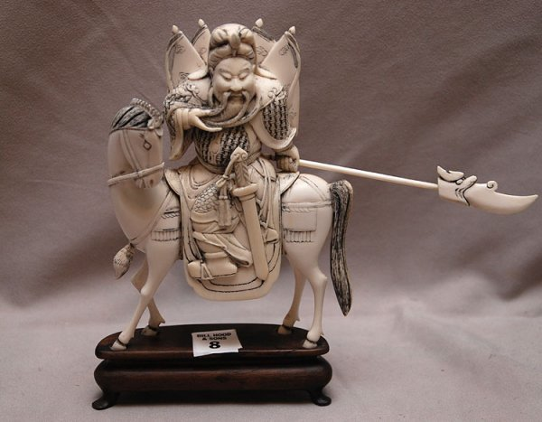 8: Solid Carved Ivory warrior on stand, figure is 7 1/2