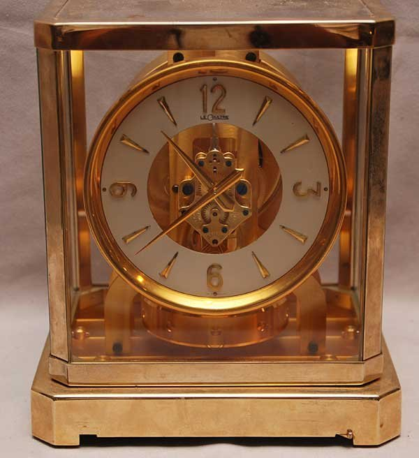 """9: Jeager Le Coultre Brass Atmos clock, 9 1/4""""h x 8 1/2"""
