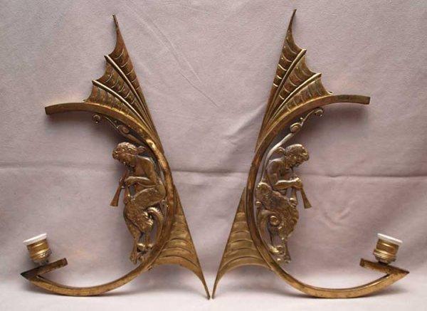"""13: Pr. Art Nouveau brass sconces, 19""""Tall"""