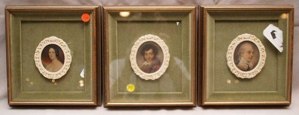 14: 3 Ivory carved oval portraits in square frame, 4-1/