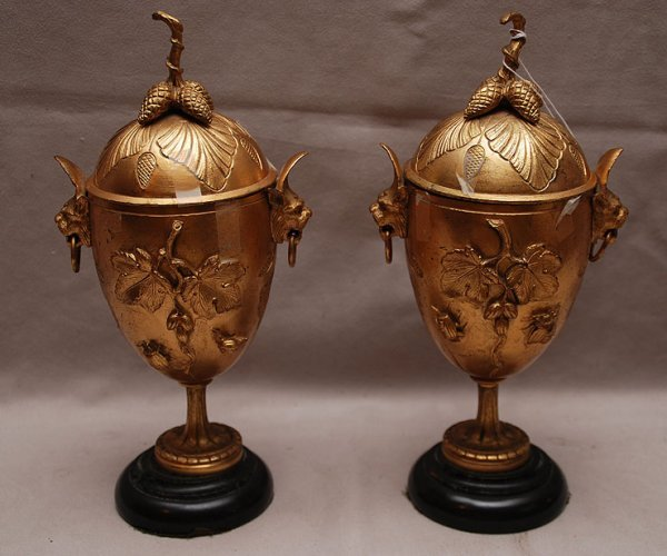 15: Pair gilded bronze covered urns with leaf & insect