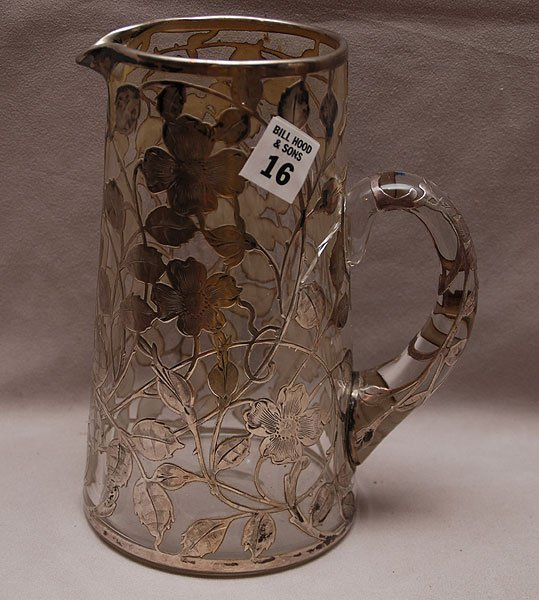"""16: Silver overlay pitcher on tankard form, 8 1/2""""h"""
