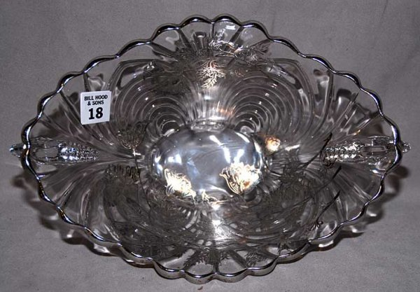 """18: Silver overlay fruit bowl, 12""""L x 4""""h x 8""""w"""