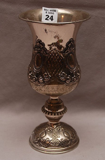 """24: Continental silver chalice, heavily adorned, 8 1/4"""""""
