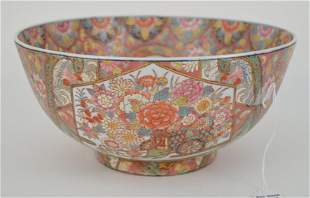 RARE CHINESE FLORAL FAMILLE ROSE PORCELAIN BOWL - This