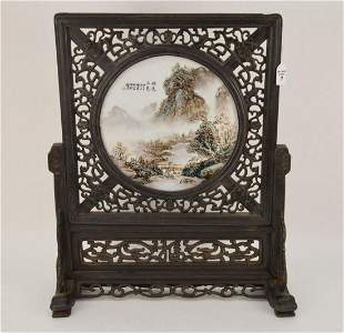 CHINESE REPUBLIC PERIOD PORCELAIN PLAQUE & CARVED WOOD