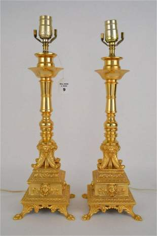 PAIR OF CONTINENTAL GILT BRONZE LAMPS - Beautiful and