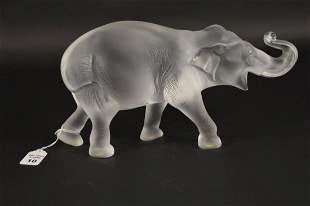 LALIQUE CRYSTAL SUMATRA ELEPHANT FIGURE - Lalique