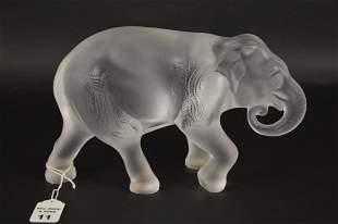 LALIQUE CRYSTAL JAVA ELEPHANT FIGURE - Lalique France