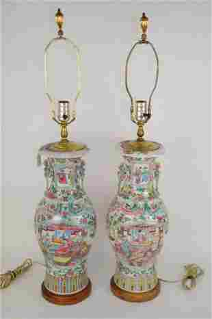 PAIR OF CHINESE FAMILLE ROSE PORCELAIN VASE LAMPS -