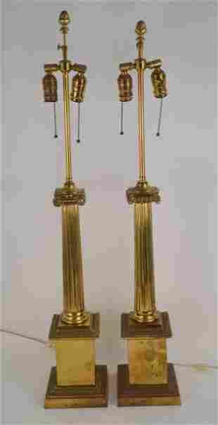 PAIR OF ANTIQUE BRONZE COLUMN-FORM LAMPS - Two-light