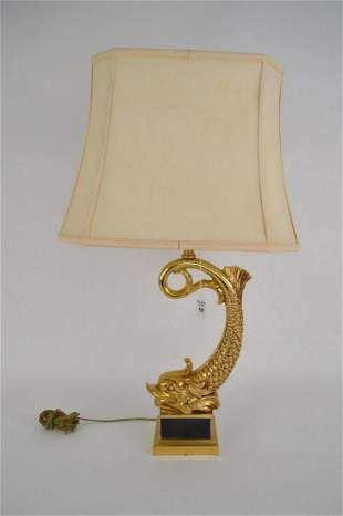 GILT BRONZE DOLPHIN LAMP - Arched bronze dolphin on a